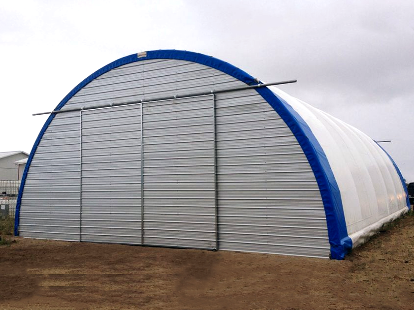 Engineered Portable Building with Blue Chuckwagon