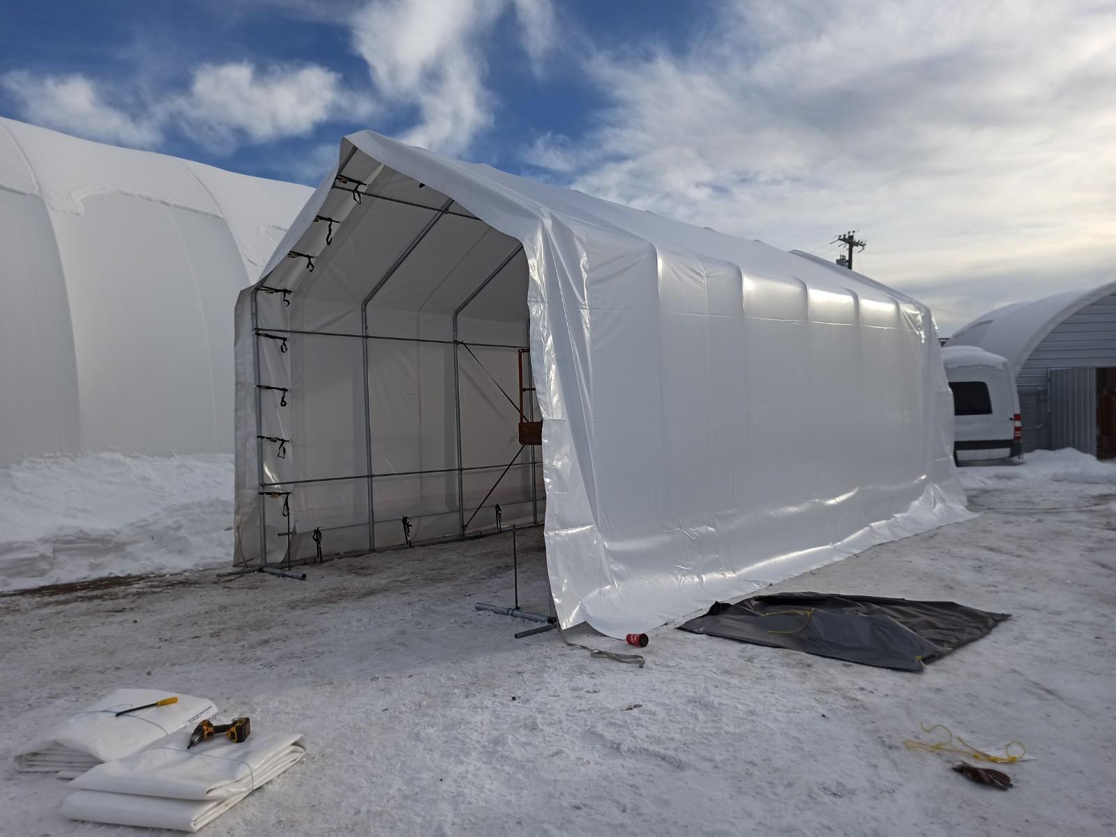 15' Wide Boat & RV Shelter Half Set-Up