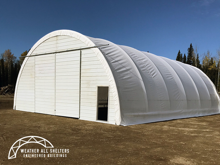 38' Wide Engineered Fabric Building with Sliding Doors