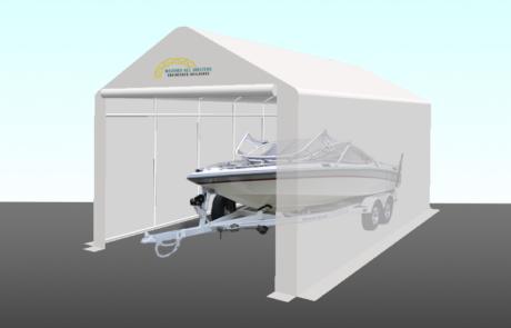 15' Wide Boat Shelter Illustration - Sports Boat