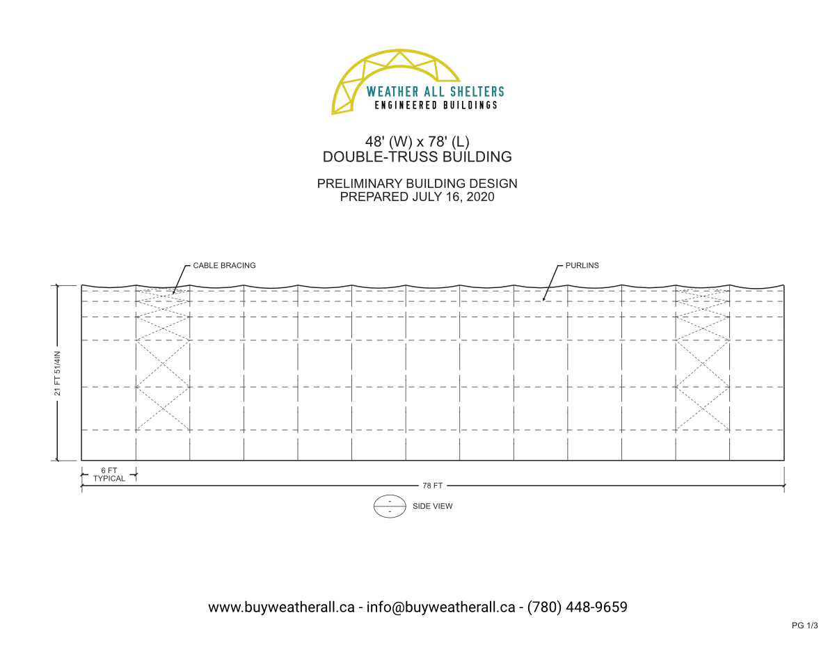 50' Wide Fabric Structure Preliminary Drawings 1