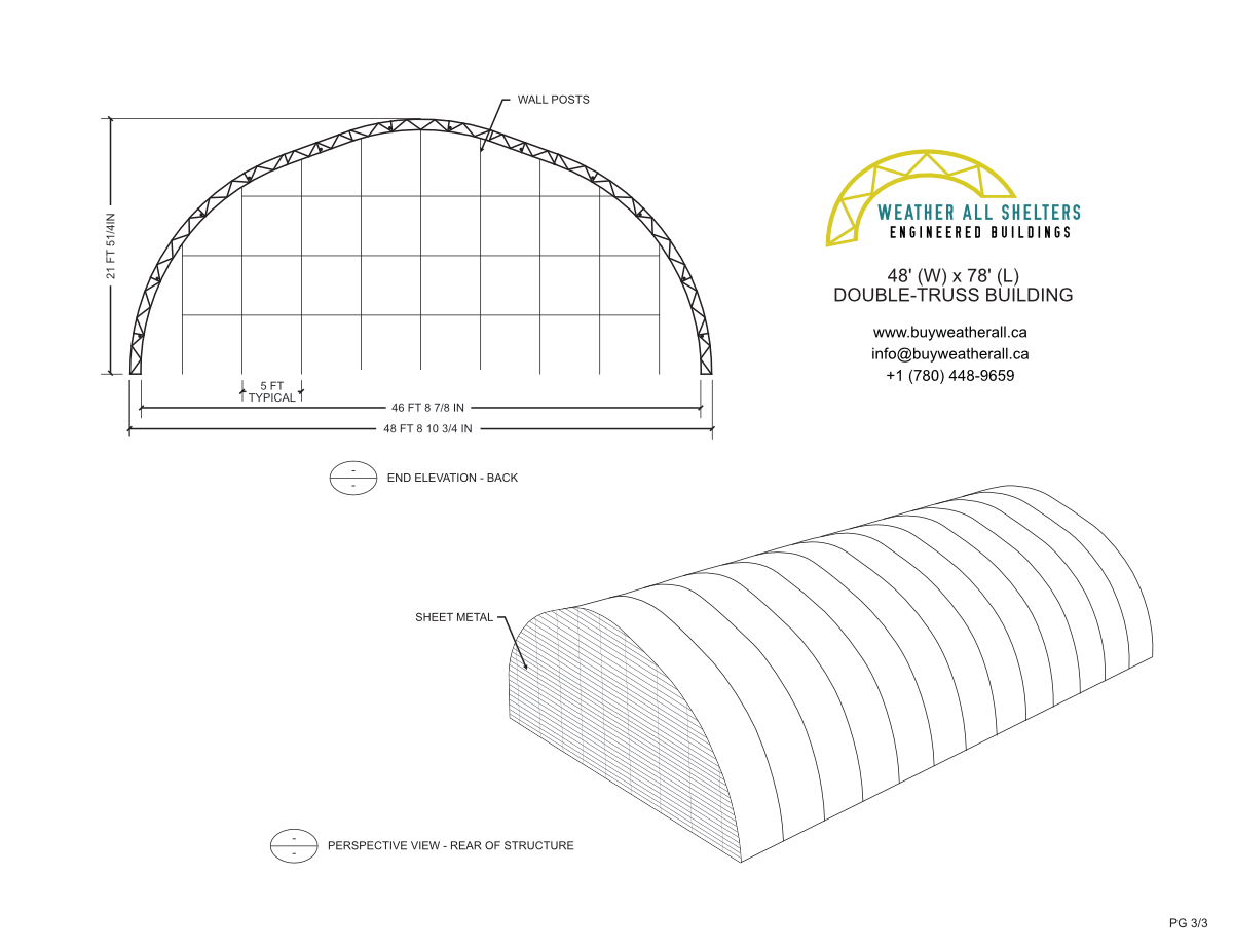 50' Wide Fabric Structure Preliminary Drawings 3